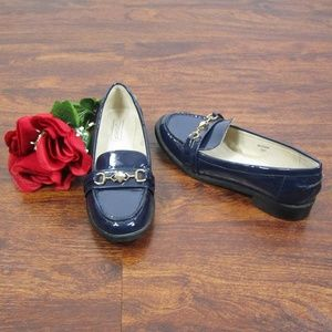 Topshop Navy Blue Loafers Sz 37 Gold Tone Accents